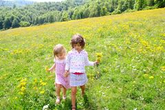 Sister girls in meadow playing with spring flowers Stock Photography