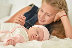 Sister with her baby brother Royalty Free Stock Images