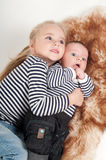 Sister hugging his younger brother Royalty Free Stock Photography