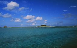 The Sister islands Digofinolu-Veligandahura in the Maledives Isl. Ands are connected with a bridge Royalty Free Stock Photography