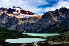 Sister lakes and Snow Mountain Stock Photo