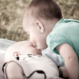 Sister and little brother royalty free stock image