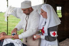 Sister of Mercy. KALININGRAD RUSSIA, 21 AUGUST 2016: Historical reenactment of the Battle of Gumbinnen, World War I, Sister of Mercy  Kaliningrad region, Russia Stock Images