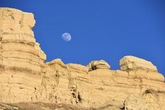 Sister Moon overlooking Sandy Loess Formations on Hanford Reach. Hanford Reach National Monument, Near Tri-Cities, Hanford Site, and Othello, WA. National Royalty Free Stock Image