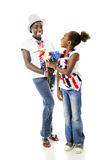 Sister Patriots Sharing Royalty Free Stock Image