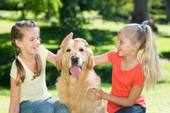 Sister petting their dog in the park Stock Photos