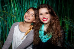 Sister Portrait. A portrait of two teenage sisters. The younger leans on her older sibling for support in an affectionate manner Royalty Free Stock Photo
