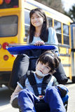 Sister pushing disabled brother in wheelchair Royalty Free Stock Images
