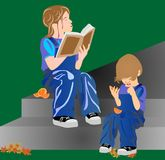 Sister reading to her sibling a book. Sister reading to her sibling, while the young one sits on steps and listens Royalty Free Stock Photos