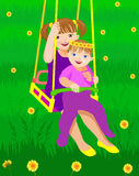 Sister on a swing. Sister outdoors on a swing Royalty Free Stock Photos