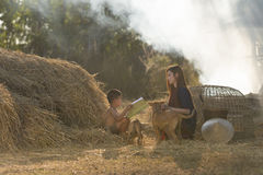 Sister to educate younger brother in Countryside. Sister to educate younger brother in Countryside,Thailand stock photos