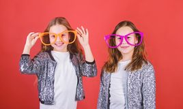 Sisterhood concept. Friendly relations siblings. Sincere cheerful kids share happiness and love. Girls funny big. Sisterhood concept. Friendly relations siblings royalty free stock photography