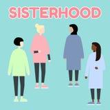 sisterhood De multi-etnische vrouwen van het diverceras Gendergelijkheid feminism Reeks vrouwelijke portretten Vlakke editable ve royalty-vrije illustratie