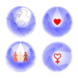 Sisterhood symbol of love, femininity and unity stock illustration