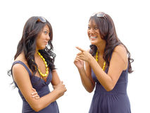 Sisterly discussion. Identical twin sisters having a spirited discussion Royalty Free Stock Photography