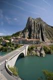 Sisteron bridge. Famous Sisteron landmark bridge (Rocher de la baume) over Durance river Stock Image