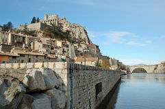 Sisteron and the bridge over river Durance Stock Photo