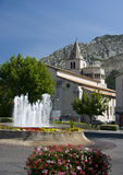 Sisteron cathedral, France. Impressive church, one of the biggest Roman style cathedrals in France, Sisteron, Provence Stock Image