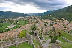 Sisteron Citadel, France. Sisteron town below the citadel in France Royalty Free Stock Image