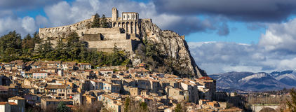 Sisteron Citadel with rooftops and fortifications. Southern Alps France Stock Photo
