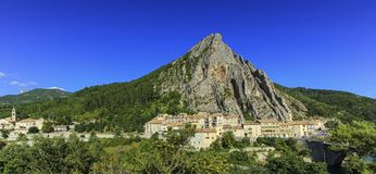 Sisteron city and Beaume big rock, France Stock Image