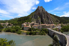 Sisteron. Old town at the france Stock Photos