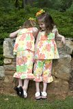 Sisters. Twin sisters - one exploring stock images