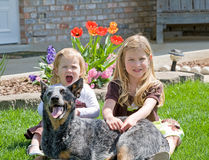 Sisters. Sitting With Their Dog in Front of Their House Stock Photography