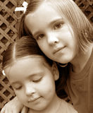 Sisters. Two little girls.  Sepia tone photograph Royalty Free Stock Images