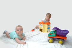 Sisters. A child playing in a children's room Stock Photography