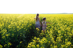 Sisters. An image of two girls walking in the field stock photography