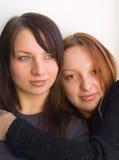 Sisters. Pretty girls Stock Photos