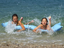 Sisters at Adriatic sea 1 Stock Photos