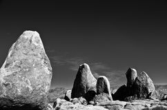The Sisters of Alabama Hills. Sections of rocks in the Alabama Hills of California, paired up with a dark sky Stock Photography