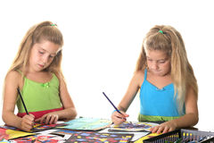 Sisters arts & craft smile Royalty Free Stock Images