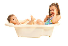 Sisters in bathtub Stock Photography