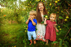 Sisters and brother in the garden. Pretty teen girl with little sister and brother resting in the garden near the apple tree Royalty Free Stock Photos