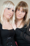 Sisters, brunett and blond girls Stock Photography