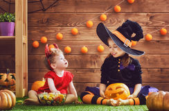 Sisters celebrate Halloween Royalty Free Stock Images