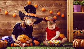 Sisters celebrate Halloween Royalty Free Stock Photo