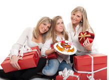 Sisters celebrating birthday Royalty Free Stock Photo