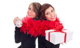 Sisters Celebrating Christmas Royalty Free Stock Photography