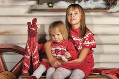 Sisters on Christmas time Stock Image