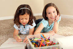 Sisters coloring Stock Image