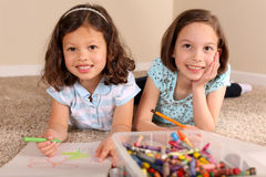 Sisters coloring Royalty Free Stock Image