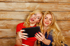 Sisters communicate in social networks, selfie Royalty Free Stock Photography