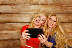 Sisters communicate in social networks, selfie Stock Photography