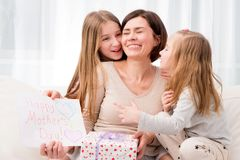 Sisters Congratulate Their Mom With Happy Mother`s Day Stock Images