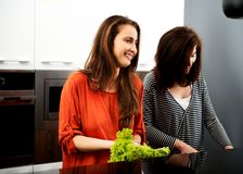 Sisters cooking meal together. Stock Images