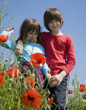 Sisters in the corn poppy Royalty Free Stock Photography